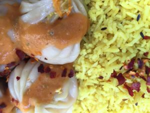 Vegetarian momos and jeera rice - Nepalese food