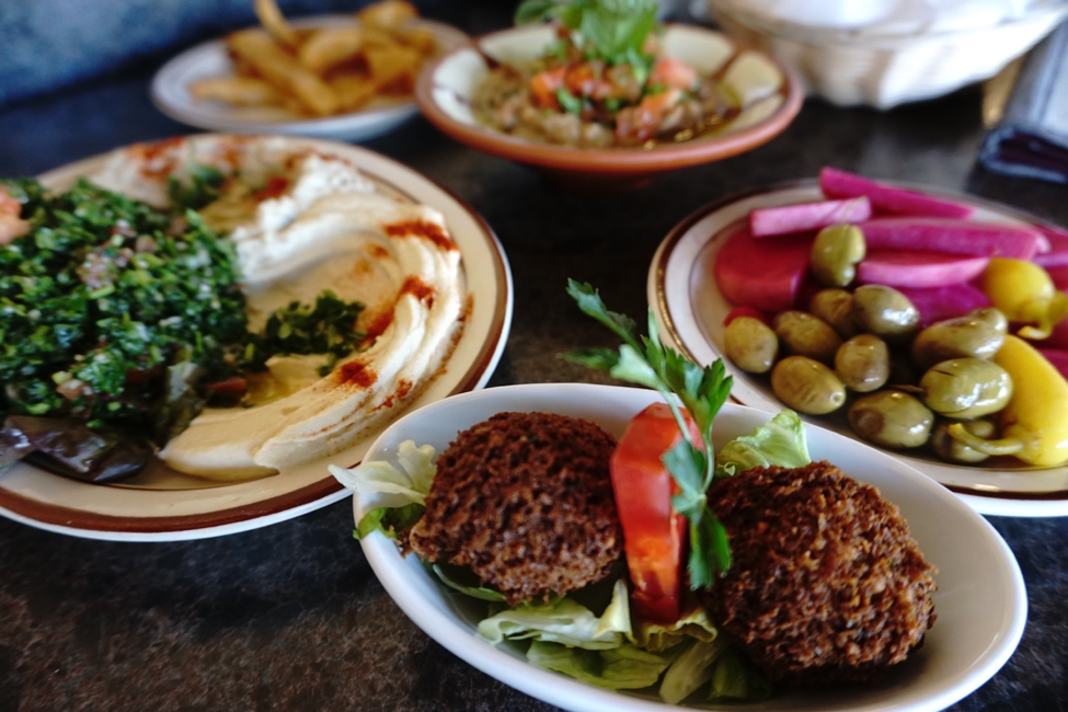 A table of Lebanese food